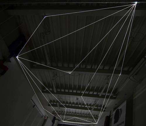 09 Carlo Bernardini Suspended Space, 2017 Fiber optic installation, h mt 5 x 13 x 4,5. Campus Bovisa - Politecnico di Milano