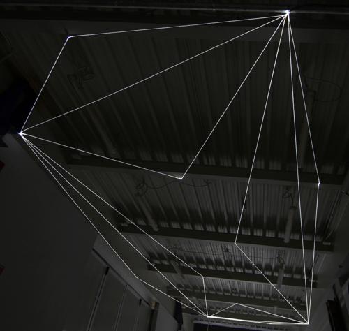 11 Carlo Bernardini Suspended Space, 2017 Fiber optic installation, h mt 5 x 13 x 4,5. Campus Bovisa - Politecnico di Milano