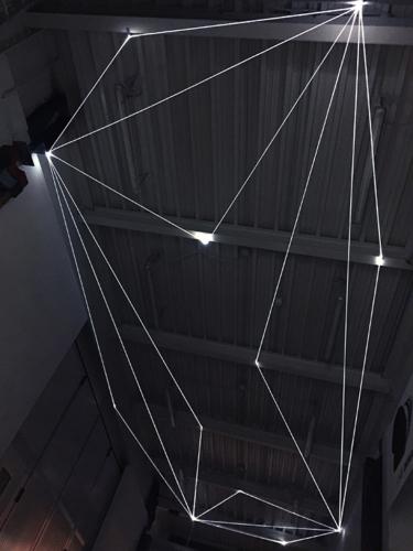 12 Carlo Bernardini Suspended Space, 2017 Fiber optic installation, h mt 5 x 13 x 4,5. Campus Bovisa - Politecnico di Milano