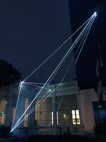 """13 Carlo Bernardini Invisible Dimensions, 2017 Fiber optic installation, h mt 15 x 10 x 4,5. Asuncion, 2° Bienal Internacional de Asuncion, """"Significar lo Imposible"""", UPAP, Una Universidad Todo un Pais"""