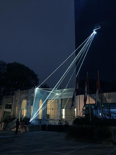 """14 Carlo Bernardini Invisible Dimensions, 2017 Fiber optic installation, h mt 15 x 10 x 4,5. Asuncion, 2° Bienal Internacional de Asuncion, """"Significar lo Imposible"""", UPAP, Una Universidad Todo un Pais"""