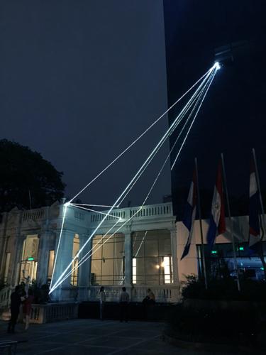 """18 Carlo Bernardini Invisible Dimensions, 2017 Fiber optic installation, h mt 15 x 10 x 4,5. Asuncion, 2° Bienal Internacional de Asuncion, """"Significar lo Imposible"""", UPAP, Una Universidad Todo un Pais"""