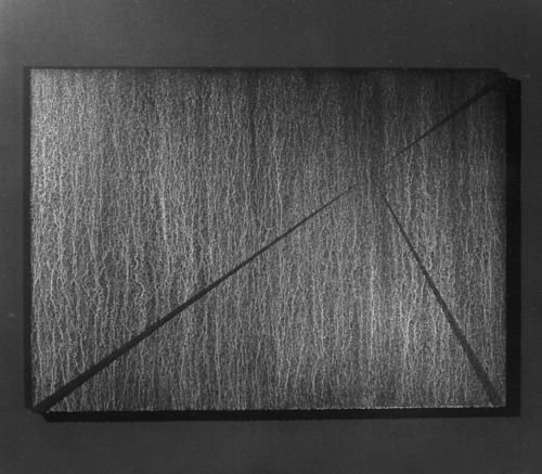 04 CARLO BERNARDINI, Division of Visual Unity 1996, white pigments in acrylic powder and phosphorous on boards; feet h 3x4,5 (dark).