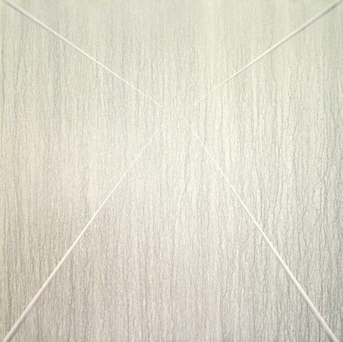 07 CARLO BERNARDINI, Virtual surfaces with light-shade lines 1996, white pigments in acrylic powder and phosphorous on boards, feet h 6,5x6,5 (light).