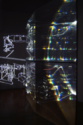 04 CARLO BERNARDINI, Ghost of Duchamp 2009, Fiber optic, plexiglass, OLF surface, video, feet h 9,5x5x1,5; Museo d'arte, Villa Ciani, Lugano.