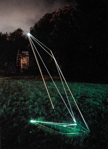 35 CARLO BERNARDINI, Space Drawing 2002, Stainless steel, optical fibers, feet h 10x3x3, Sculpture Space, Utica, New York.