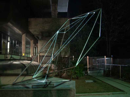 38 CARLO BERNARDINI,The Division of Visual Unity 2002, stainless steel, optical fibers, feet h 13x10x15, Viale dei Platani, Castellanza(VA).