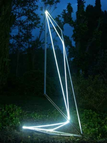 41 CARLO BERNARDINI Permeable Space 2003 Stainless steel, optical fibers, feet h 13x7x5