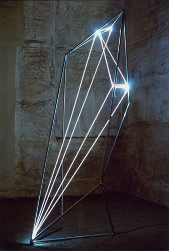 44 CARLO BERNARDINI, The Division of Visual Unity 2002, Stainless steel, optical fibers, feet h 8x3x3.