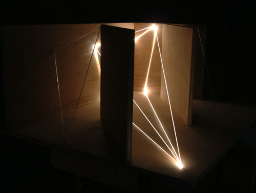 46 CARLO BERNARDINI, Architettural Space 2002, optic fibers, wood, feet h 1,5x2,5x1,5, Sculpture Space, Utica, New York.