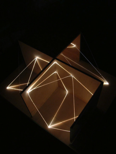 47 CARLO BERNARDINI, Architettural Space 2002, optic fibers, wood, feet h 2x3x2, Sculpture Space, Utica, New York.