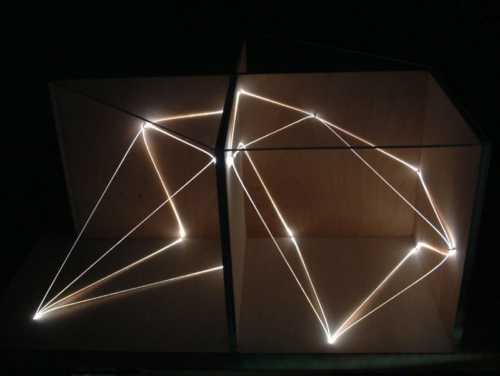 48 CARLO BERNARDINI, Architettural Space 2002, optic fibers, wood, feet h 2x3x2; Sculpture Space, Utica, New York.
