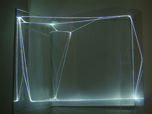 54 CARLO BERNARDINI, Virtual Volums 2001, Optical fibres, plexiglass, feet h 3,5x4,5x1,5.