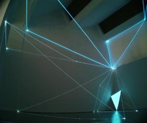 01 CARLO BERNARDINI, SPAZI PERMEABILI 2002 Fibre ottiche, superficie elettroluminescente, mt h 9x13x11; Triennale di Milano.