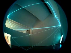 04 CARLO BERNARDINI, SPAZI PERMEABILI 2002-Fibre ottiche, superficie elettroluminescente, mt h 9x13x11 (visione totale), Triennale di Milano.