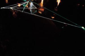 33 CARLO BERNARDINI, Spazio Permeabile 2002, fibre ottiche in  acqua alta, m h 1,5x15x8, Jesolo (VE), Terrazza Mare, Light-Proof–A prova di luce