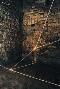 45 CARLO BERNARDINI, DIVISIONE DELL'UNITA` VISIVA 1996 Fibre ottiche, mt h 3,5x4x8, Chiesa di S.Francesco, Tuscania(VT).