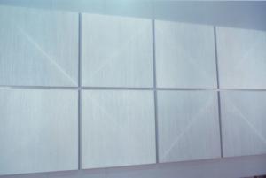 47 CARLO BERNARDINI SUPERFICI VIRTUALI CON  LINEE DI LUCEOMBRA 1996, Acrilico e fosforo su tavola, cm h 285x575, XII Quadriennale, Palazzo delle Esposizioni, Roma.