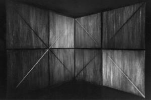 48 CARLO BERNARDINI, SUPERFICI VIRTUALI CON LINEE DI LUCEOMBRA 1996, Acrilico e fosforo su tavola, cm h 285x575 (visione al buio), XII Quadriennale, Palazzo delle Esposizioni, Roma.