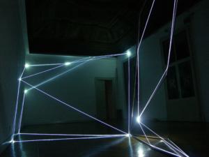 08 CARLO BERNARDINI, Spazi Permeabili 2004, installazione in fibre ottiche e acciaio inox mt h 4,5x6x14 (Part.1) Galleria Milano.