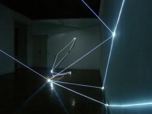 09 CARLO BERNARDINI, Spazi Permeabili 2004, installazione in fibre ottiche e acciaio inox mt h 4,5x6x14 (Part.2) Galleria Milano.