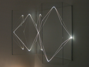 25 CARLO BERNARDINI, Volumi Virtuali 2001, Optical fibres, plexiglass; feet h 3,5x4,5x1,5.