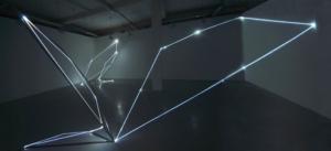 08 CARLO BERNARDINI, Catalizzatori di Luce 2005, fibre ottiche e acciaio inox, H mt 4x12x10  e H mt 4x4,5x4 (punto di vista bidimensionale); Torino, Velan Centro Arte Contemporanea.