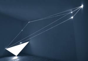 23 CARLO BERNARDINI, Catalizzatori dI Luce 2005,  fibre ottiche e suferficie elettroluminescente autoalimentata, H mt 3x6x2, Roma, Galleria Il Sole Arte Contemporanea.