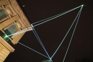 20 CARLO BERNARDINI, CATALIZZATORE DI LUCE 2008, Installazione ambientale in fibra ottica, mt h 15(da terra)x20x18; Lissone (MI), Museo d'Arte Contemporanea.