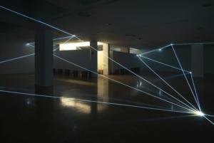 22 CARLO BERNARDINI, SPAZIO PERMEABILE 2008, Installazione ambientale in fibra ottica, mt h 3,50x18x18. Lissone (MI), Museo d'Arte Contemporanea.
