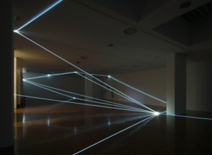 24 CARLO BERNARDINI, SPAZIO PERMEABILE 2008, Installazione ambientale in fibra ottica, mt h 3,50x18x18; Lissone (MI), Museo d'Arte Contemporanea.