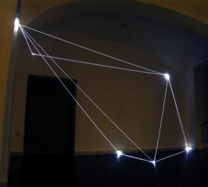 """35 CARLO BERNARDINI, PERMEABLE SPACE 2008. Installazione in fibre ottiche, mt h 3x7x8; Bratislava, """"Sculpture and Object XIII"""", GMB-Mirbach Palace."""