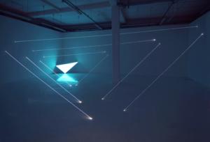 22 CARLO BERNARDINI, CODICE PROGRESSIVO DELLO SPAZIO 2009, Fibre ottiche e superficie elettroluminescente, mt h 3,60x10x7,5. Velan Centro d'Arte Contemporanea, Torino.