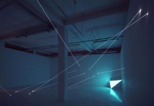 23 CARLO BERNARDINI, CODICE PROGRESSIVO DELLO SPAZIO 2009, Fibre ottiche e superficie elettroluminescente, mt h 3,60x10x7,5; Velan Centro d'Arte Contemporanea, Torino.