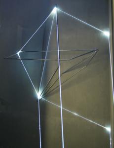 06 Carlo Bernardini, La Rivincita dell'Angolo 2011, fibre ottiche, acciaio inox (part.) mt h 18x3x4; MACRO Museo d'Arte Contemporanea di Roma.