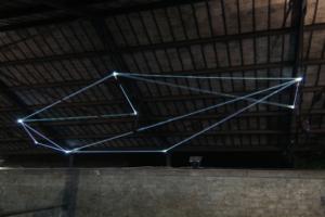 44 Carlo Bernardini, Campo Organico di Luce 2011; installazione in fibre ottiche, mt h (da terra) 5,5x10x5; The Road to Contemporary Art, Ex Mattatoio di Testaccio, Roma.