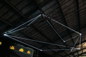45 Carlo Bernardini, Campo Organico di Luce 2011, installazione in fibre ottiche, mt h (da terra) 5,5x10x5. The Road to Contemporary Art, Ex Mattatoio di Testaccio, Roma.