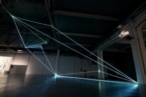 46 Carlo Bernardini, Codice Progressivo 2010; installazione in fibre ottiche, mt h 12x12x18. XXL, Superstudio Più, Milano.