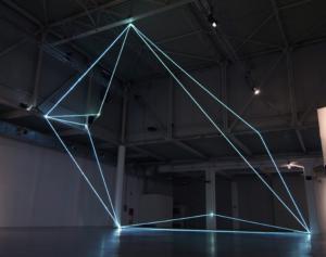 47 Carlo Bernardini, Codice Progressivo 2010; installazione in fibre ottiche, mt h 12x12x18; XXL, Superstudio Più, Milano.