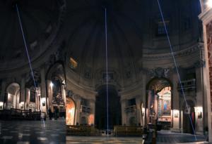59 Carlo Bernardini La luce oltre la materia, 2011 Installazione in fibra ottica, h mt 35 x 12. Basilica S.Maria in Montesanto Roma