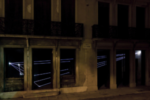 62 Carlo Bernardini Open the light, 2011 Optic fiber, feet h 11 x 41 x 22. Palazzo Anas, Comodamente, Vittorio Veneto