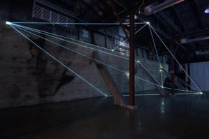 05 Carlo Bernardini Light Trasformation, 2015 Installazione ambientale in fibre ottiche, mt h 6 x 21  x 5. Illumination, Austin (TX)