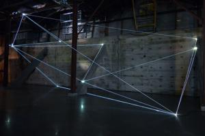 06 Carlo Bernardini Light Trasformation, 2015 Installazione ambientale in fibre ottiche, mt h 6 x 21  x 5. Illumination, Austin (TX)