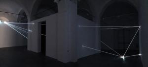 05 Carlo Bernardini Oltrelimite, 2016 Fibra ottica, dimensione ambiente, mt h 4,5 x 11 x 12. Mata, Ex Manifattura tabacchi, Modena