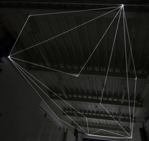 11 Carlo Bernardini Spazio Sospeso, 2017 Installazione ambientale in fibra ottica, h mt 5 x 13 x 4,5. Campus Bovisa - Politecnico di Milano