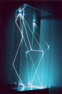 43 CARLO BERNARDINI, Divisione dell'Unità Visiva 2001, fbre ottiche, plexiglass, cm h 105x50x30, Targetti, Art Light Collection, White Sculpture.