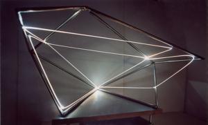 51 CARLO BERNARDINI, Spazio Permeabile 2001, Fibre ottiche, acciaio inox, cm h 45x70x60.