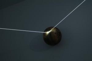 08 CARLO BERNARDINI, Orizzonte degli Eventi 2007, fibre ottiche, sfere di legno tribali; mt h 2x6x5 (part.). Como, Allarmi3, Casema De Cristoforis.
