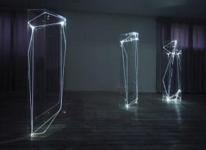 17 CARLO BERNARDINI, Spazi Permeabili 2002-2006, Plexiglass trasparente e fibre ottiche, cm h 225x50x60 (ognuna); Grossetti Arte Contemporanea, Milano.