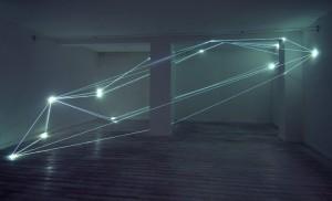20 CARLO BERNARDINI, CODICE SPAZIALE 2009, Fibre ottiche mt h 3,60x8,50x6; Grossetti Arte Contemporanea, Milano.